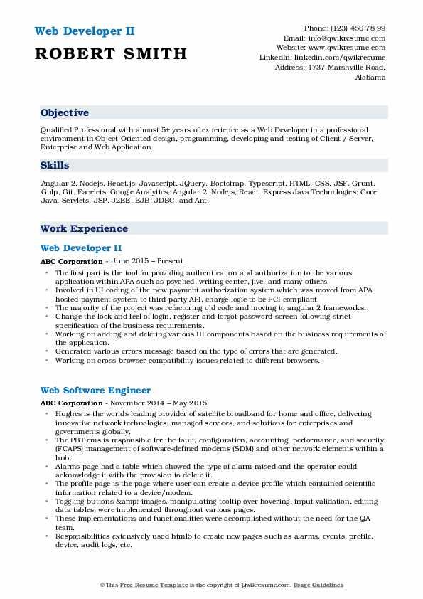 Web Developer II Resume Format