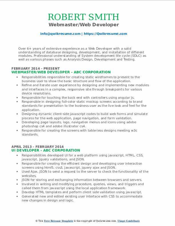 Webmaster/Web Developer Resume Template