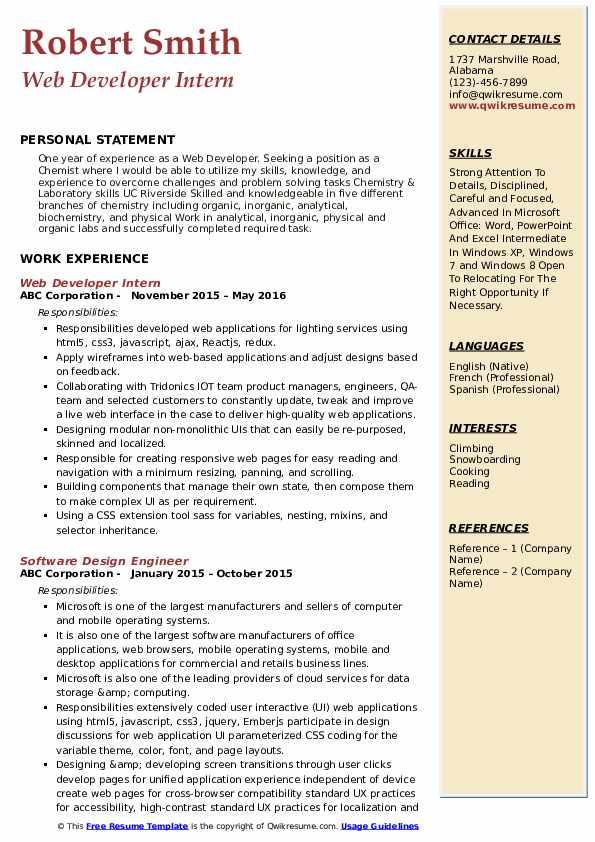 Web Developer Resume Samples | QwikResume