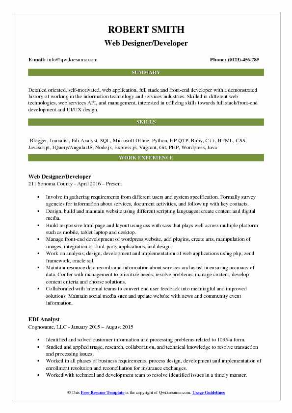 Web Designer/Developer Resume Sample