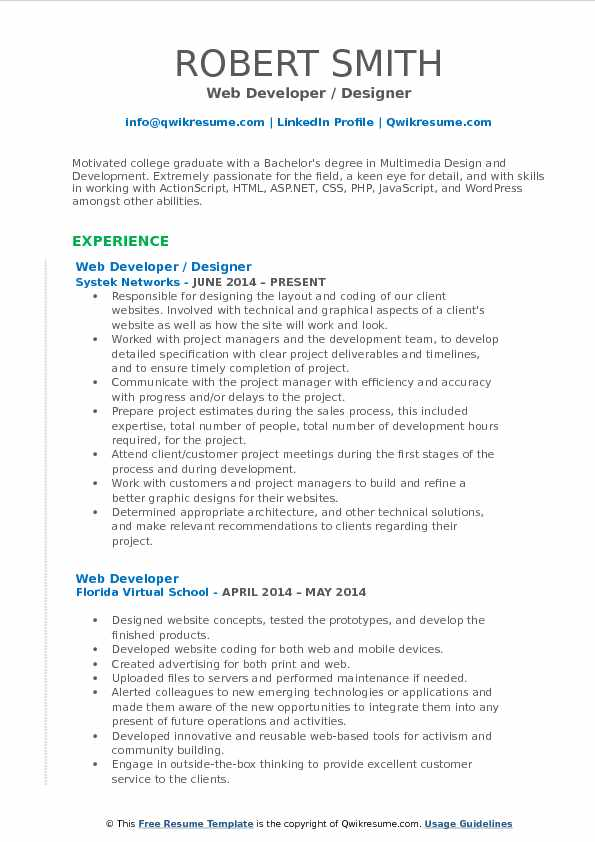 Web Developer / Designer Resume Model