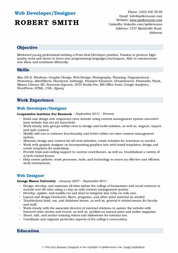 Web Developer/Designer Resume Example