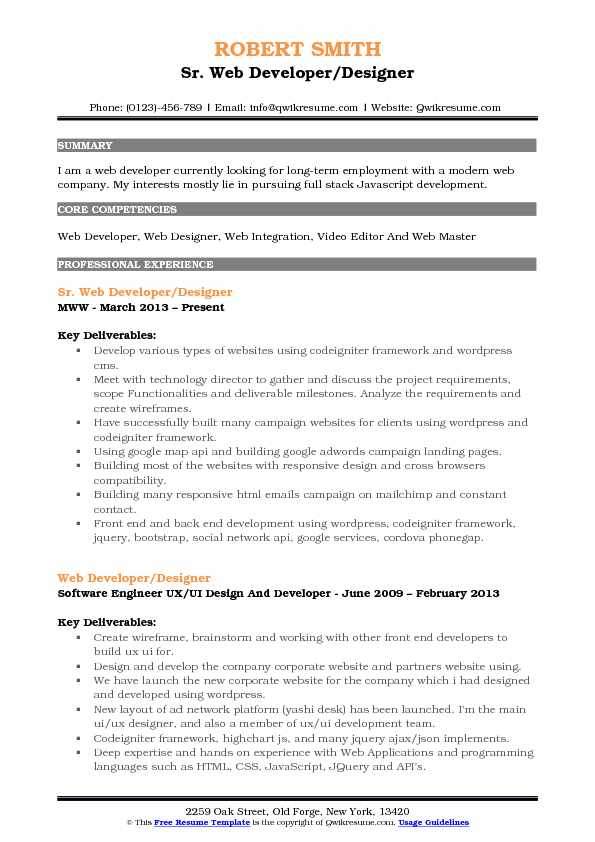 Sr. Web Developer/Designer Resume Model