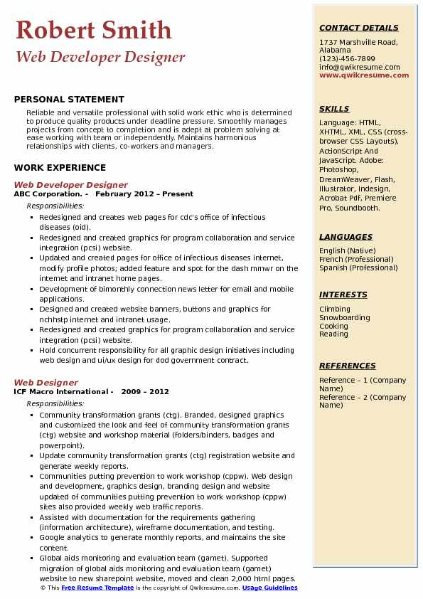 Web Developer Designer Resume Template