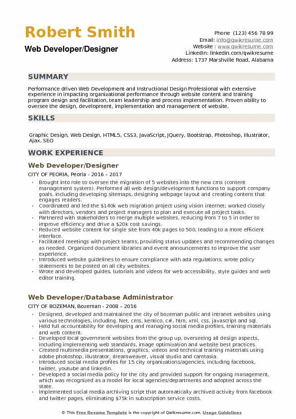 Web Developer Designer Resume Example