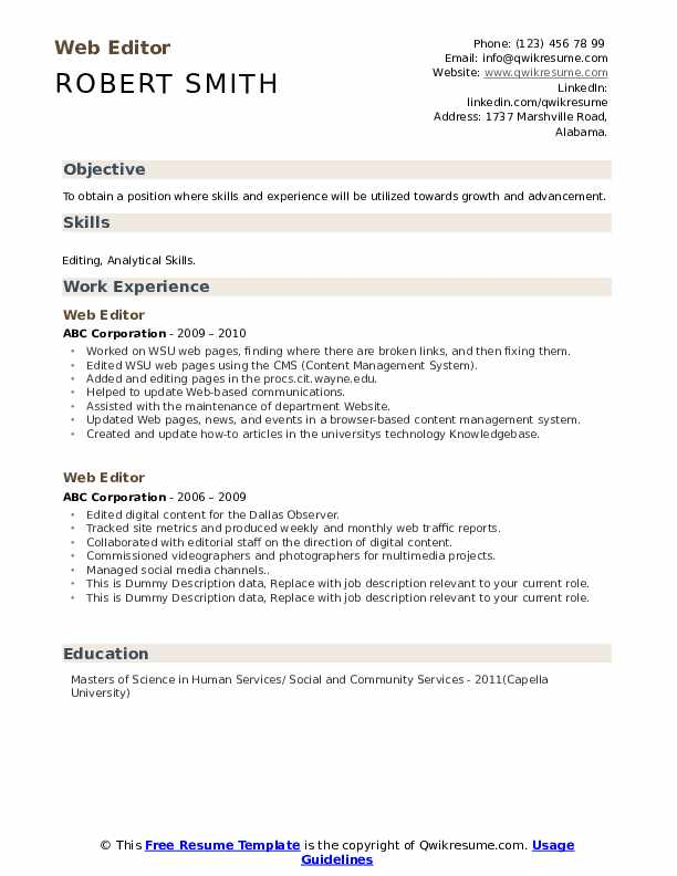Web Editor Resume example