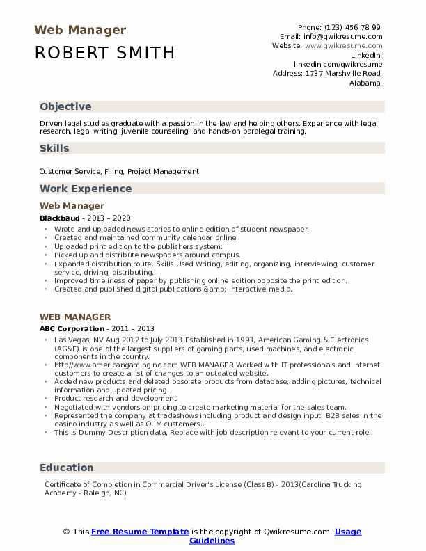 Web Manager Resume example