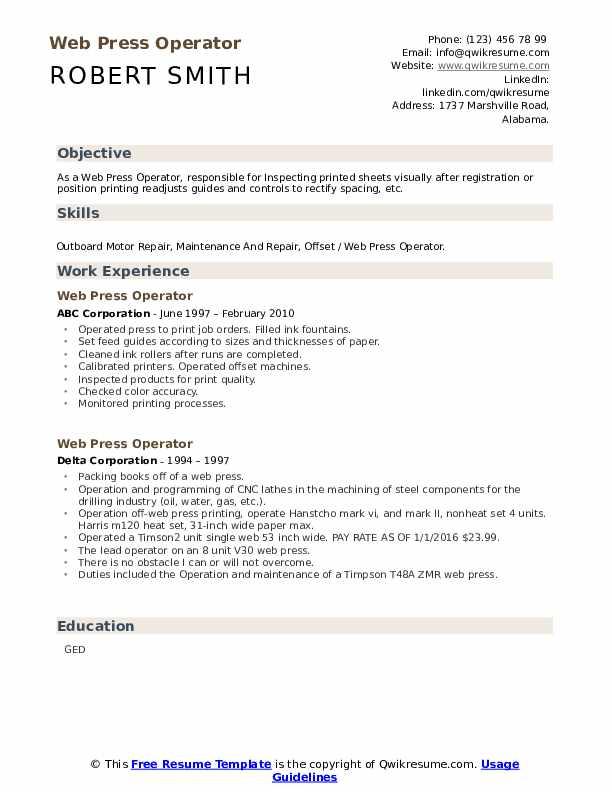web press operator resume samples  qwikresume