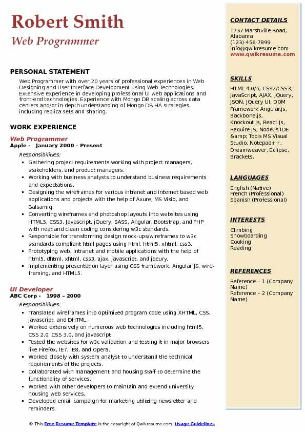 Web Programmer Resume Template