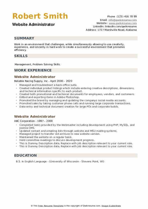 Website Administrator Resume example