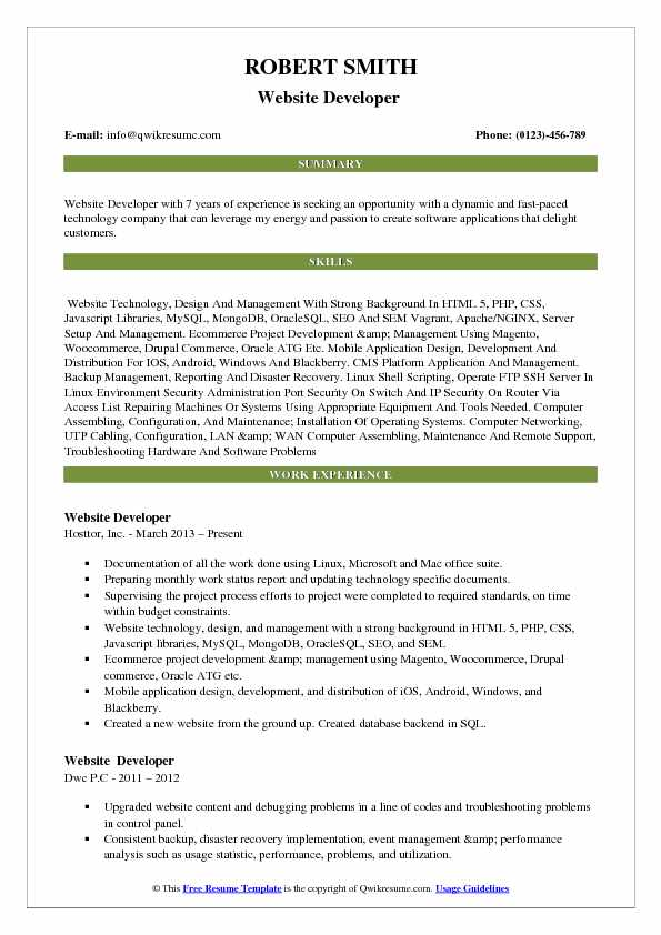 Website Developer  Resume Template