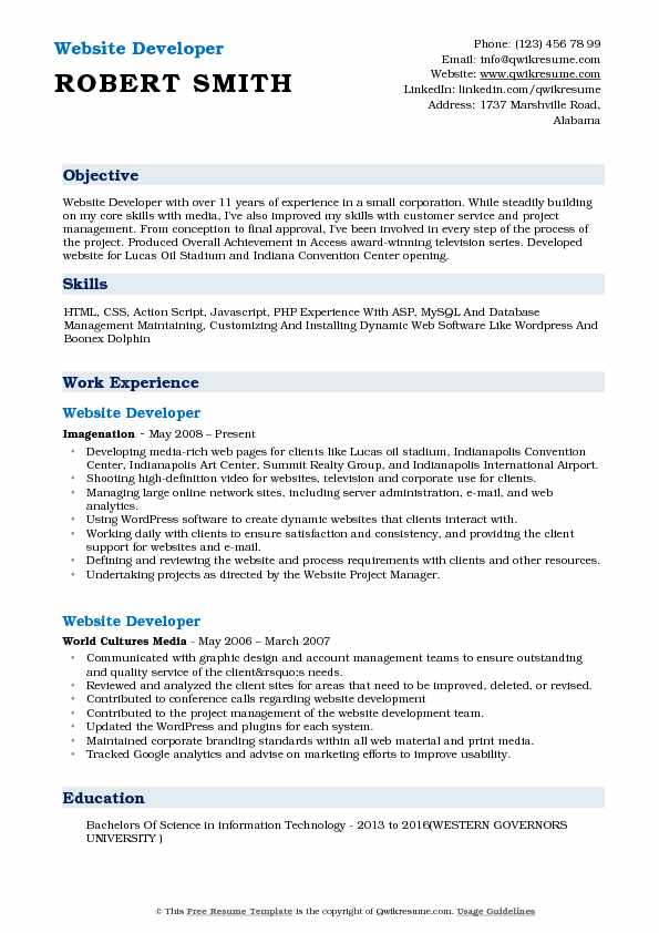 Website Developer Resume Format