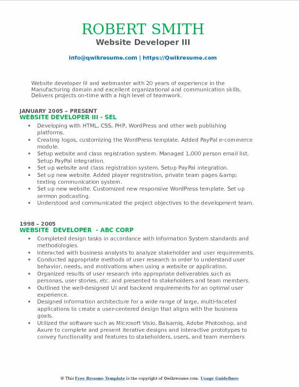 Website Developer III Resume Model