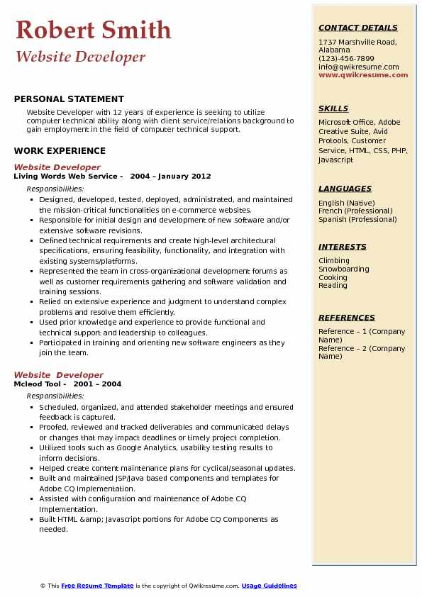 Website Developer  Resume Model