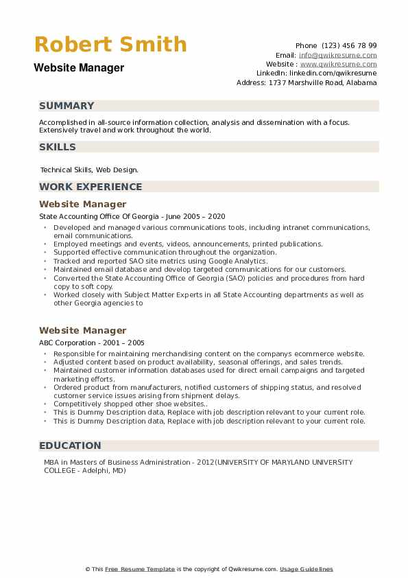 Website Manager Resume example