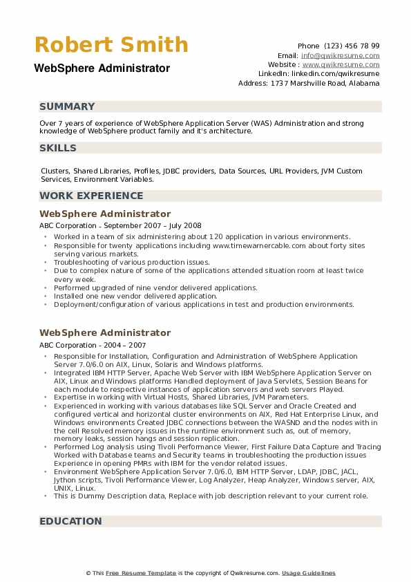 Websphere Administrator Resume example
