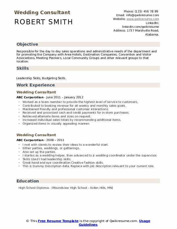Wedding Consultant Resume example