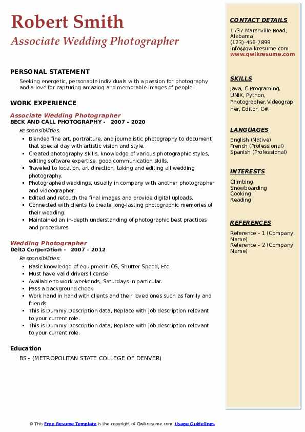 Wedding Photographer Resume Samples Qwikresume