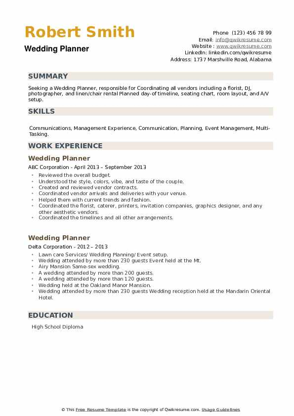 Wedding Planner Resume example