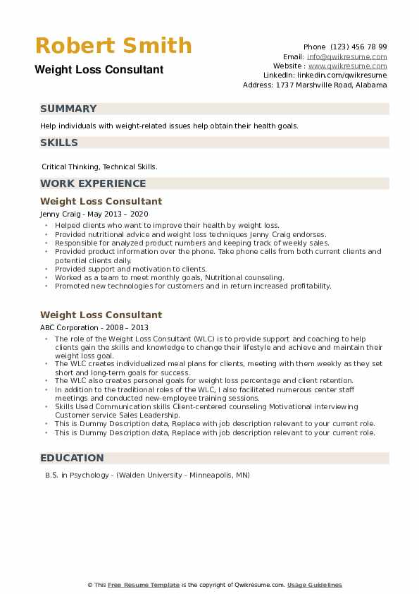 Weight Loss Consultant Resume example