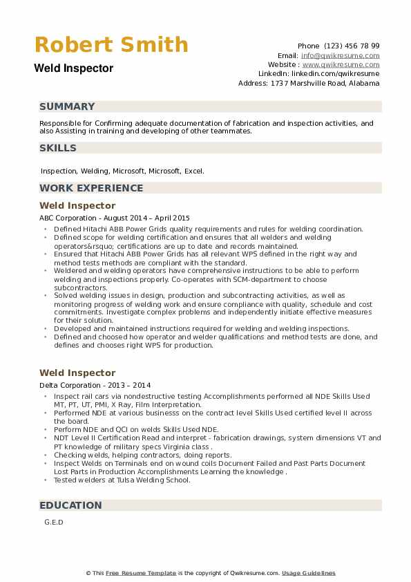 Weld Inspector Resume example