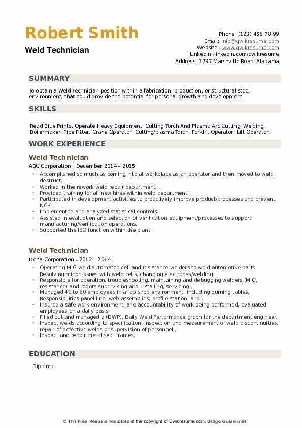 Weld Technician Resume example