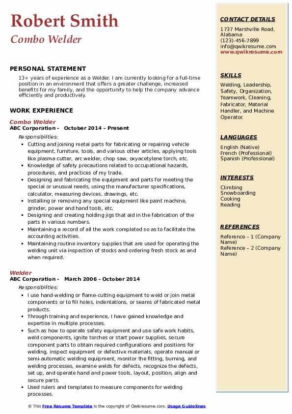 welder resume samples