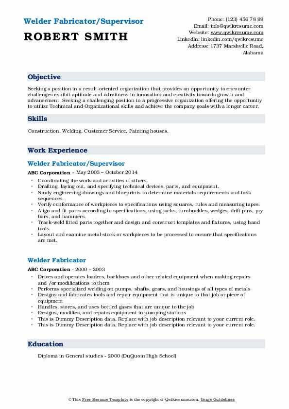 welder fabricator resume samples  qwikresume