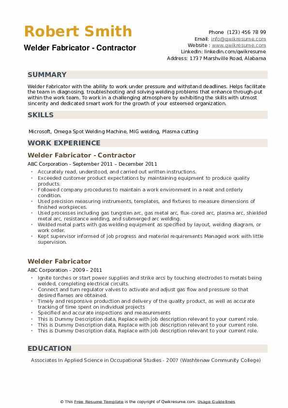 Welder Fabricator Resume example