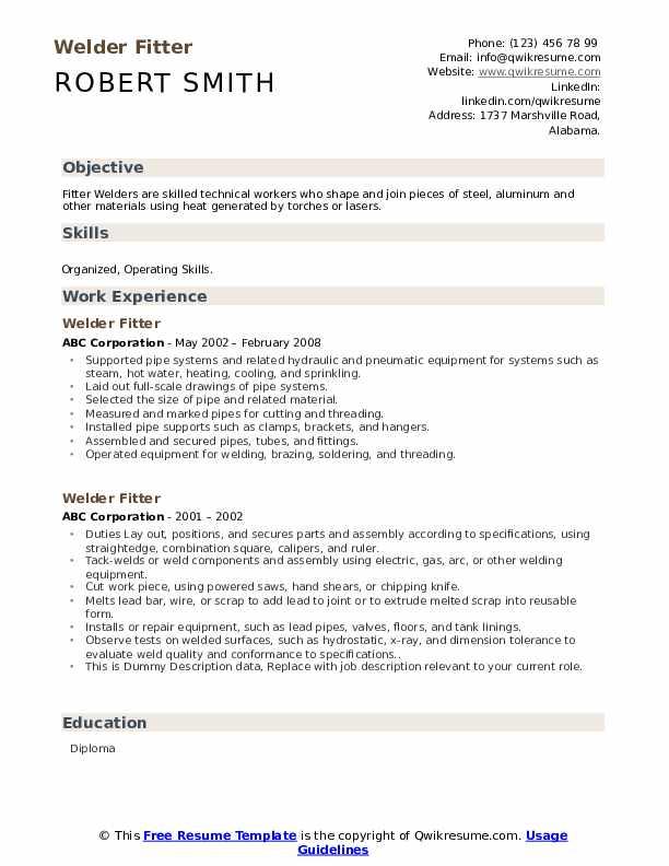 Welder Fitter Resume example