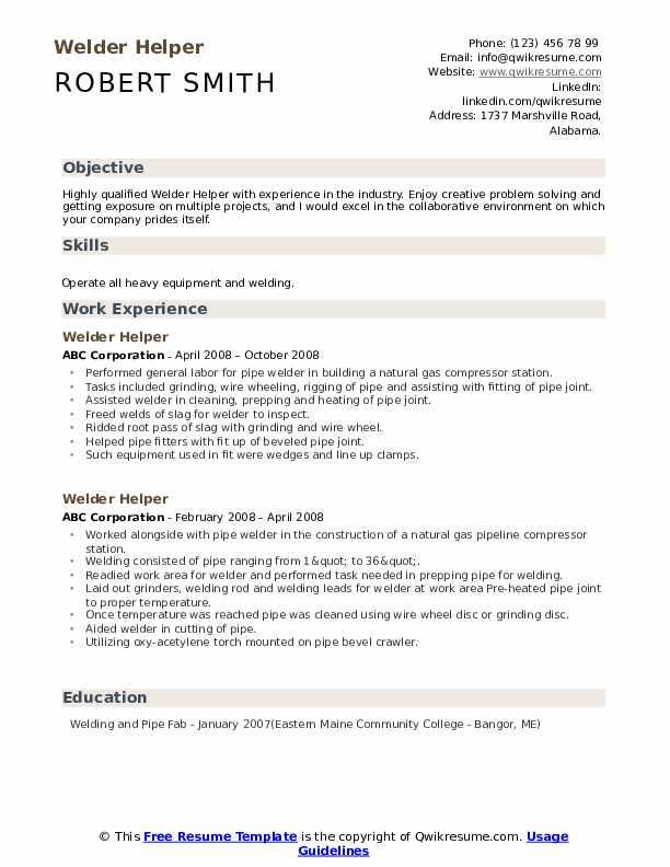 Welder Helper Resume Template