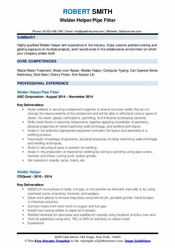 Welder Helper/Pipe Fitter Resume Model