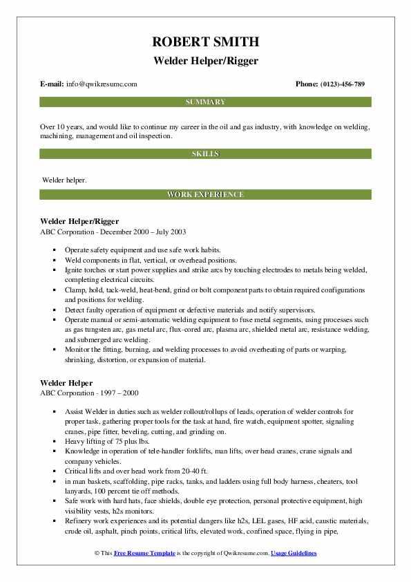 Welder Helper/Rigger Resume Example