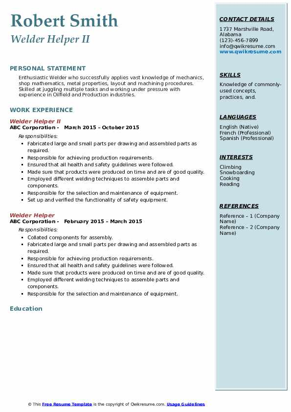 Welder Helper II Resume Sample