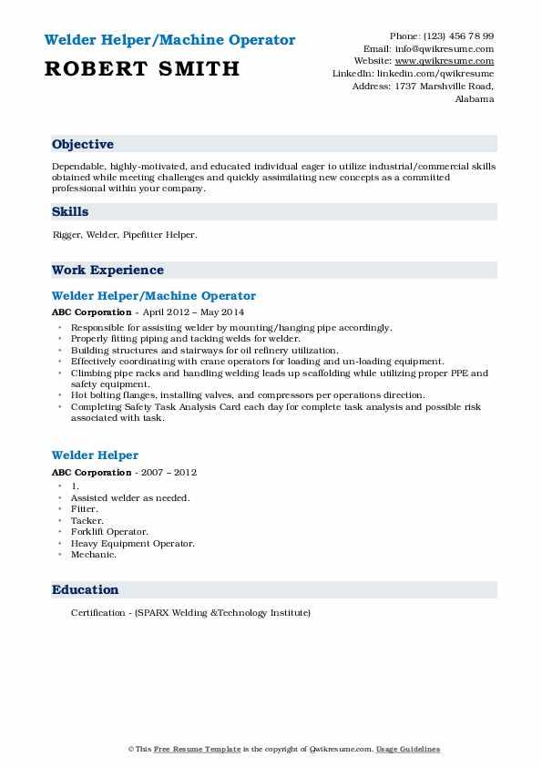 Welder Helper/Machine Operator Resume Format