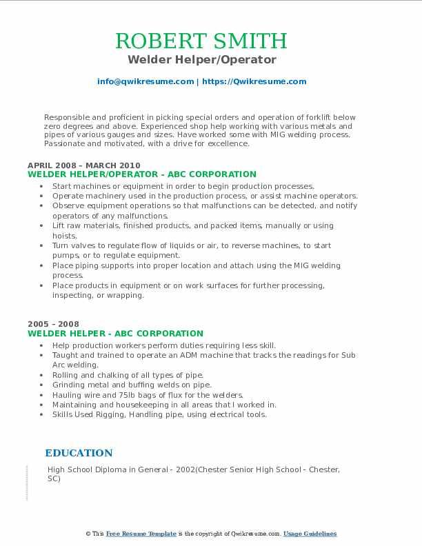 Welder Helper/Operator Resume Example