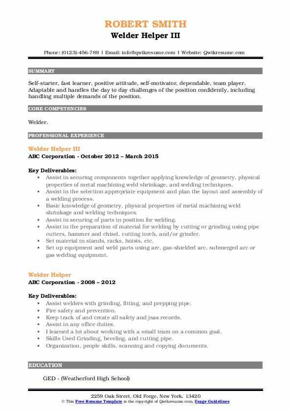 Welder Helper III Resume Sample