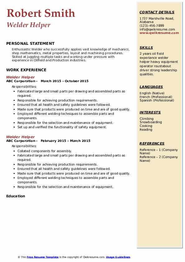 Welder Helper Resume Format