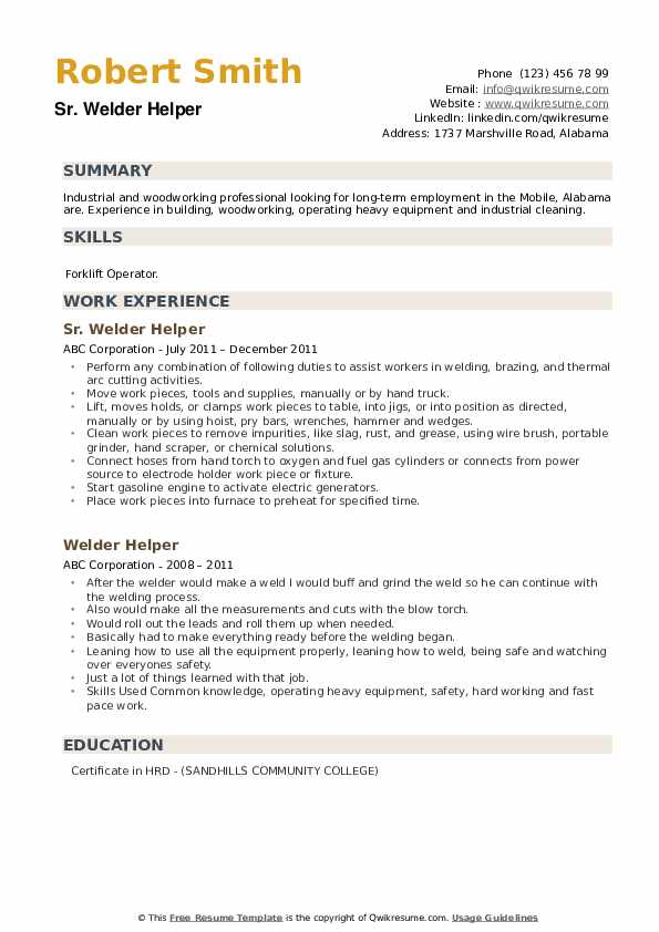 Sr. Welder Helper Resume Format
