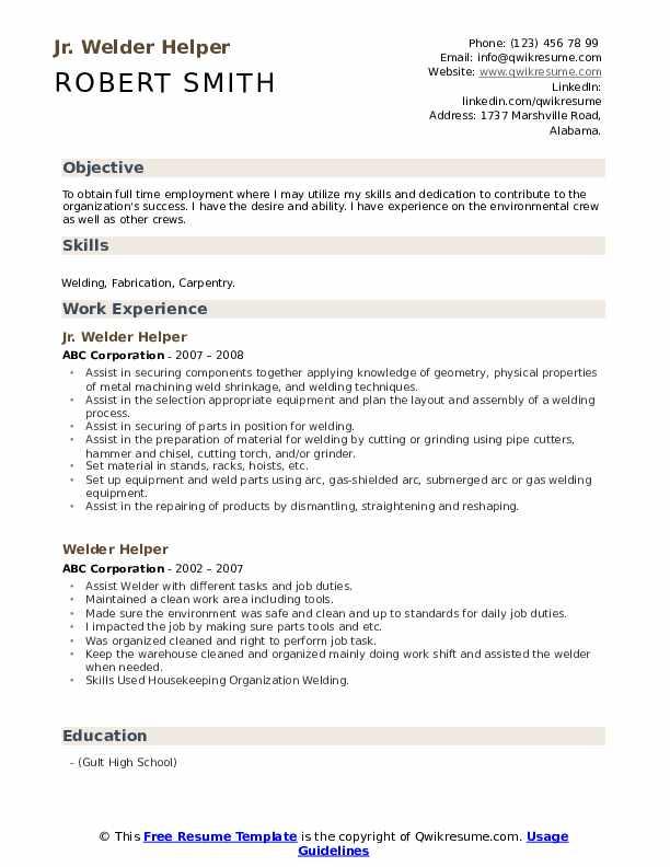 Jr. Welder Helper Resume Template