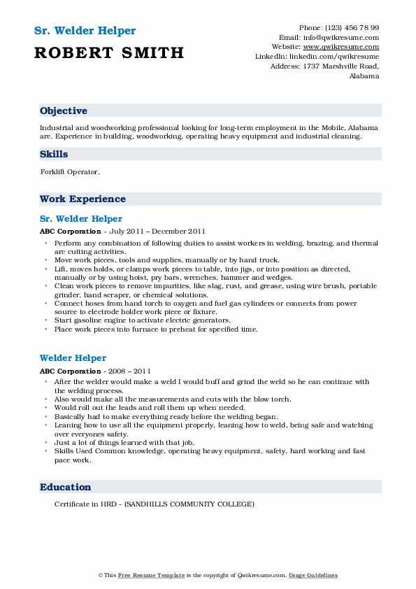Line Technician Helper Resume Template