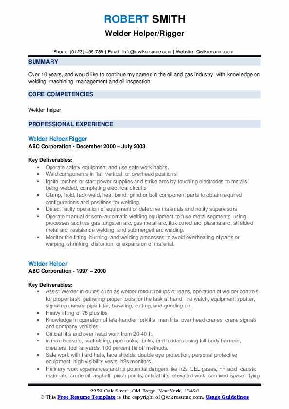 Lead Labor Foreman Resume Sample