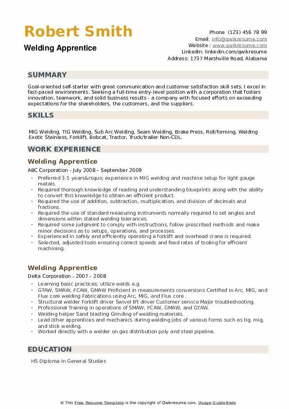 Welding Apprentice Resume example