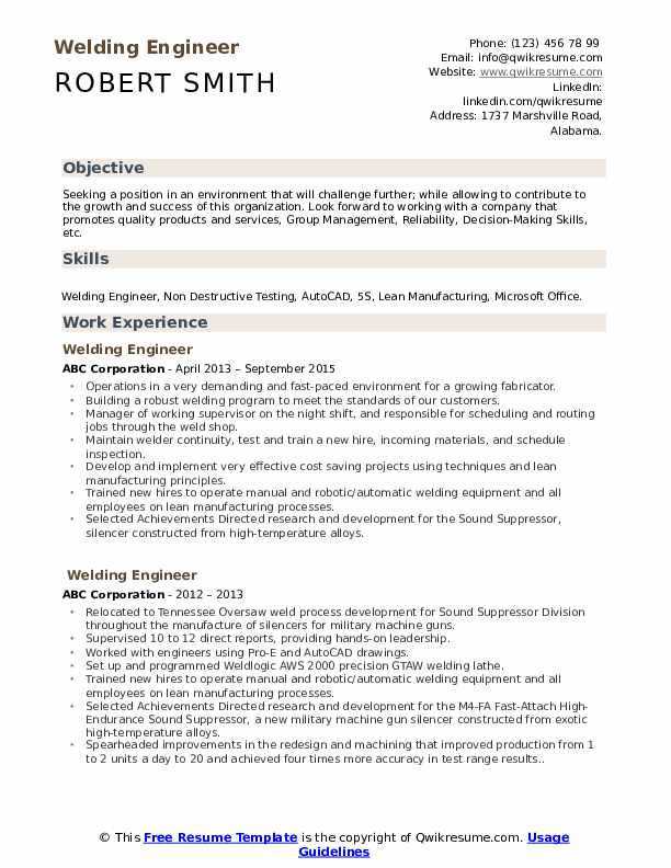 Welding Engineer Resume Samples Qwikresume