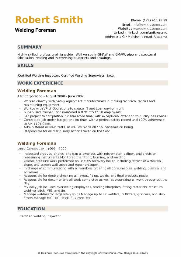 Welding Foreman Resume example