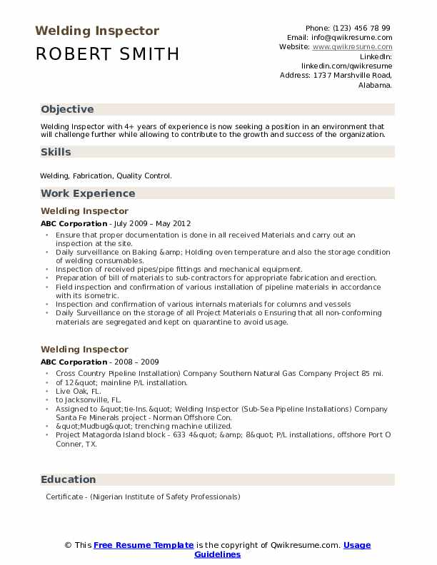 Welding Inspector Resume Template