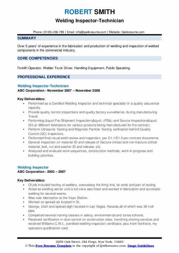 Welding Inspector-Technician Resume Example