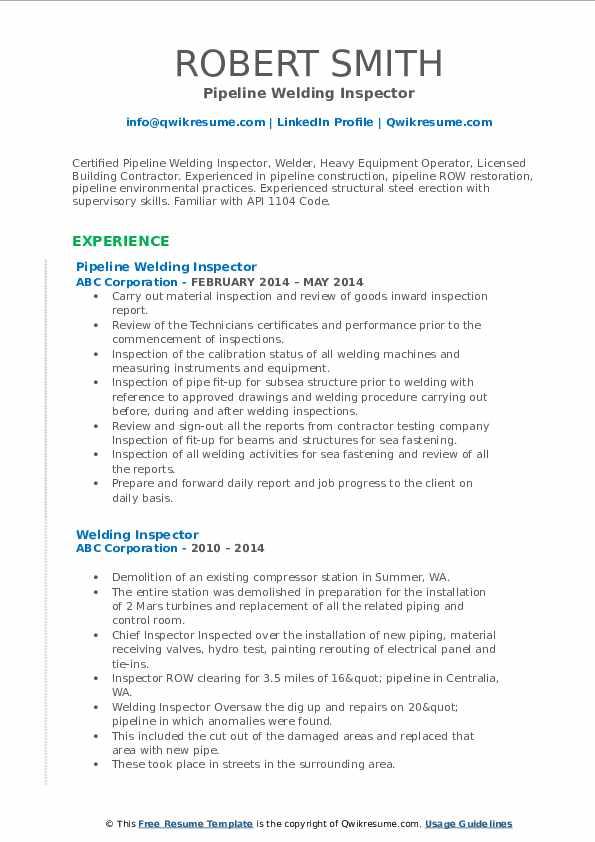 Pipeline Welding Inspector Resume Format
