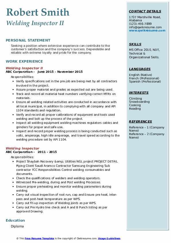 Welding Inspector II Resume Model