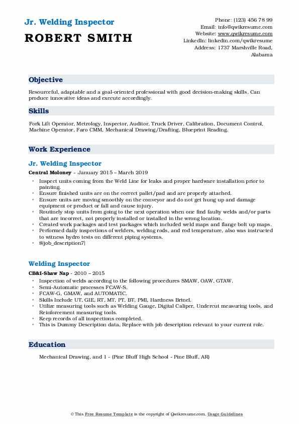 Jr. Welding Inspector Resume Example